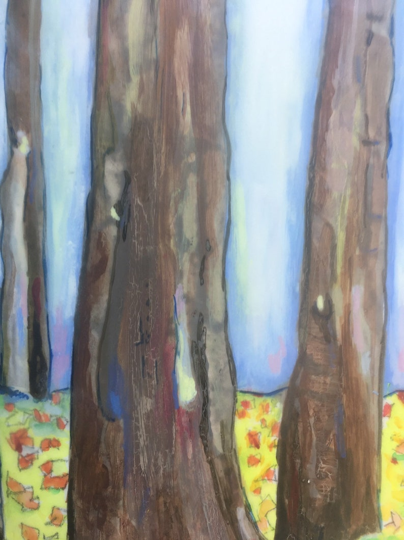 10 inch by 10 inch. Blue tree trunks Abstract original encaustic painting