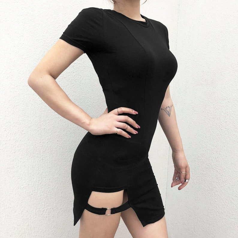 Bodycon short sleeve cotton mini dress with cutout detail in black