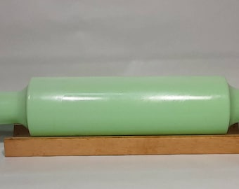 Very Rare 1930's McKee Jadeite Green Glass Rolling Pin w Original Aluminum Lid