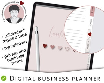 Digital Business Planner, GoodNotes, Notability, template, hyperlinked tabs, marketing journal, undated calendar, forms