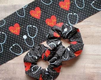 Jumbo Scrunchie Messy Bun Holder Nurse Scrunchie Hair Accessory Dr Heart Scrunchie
