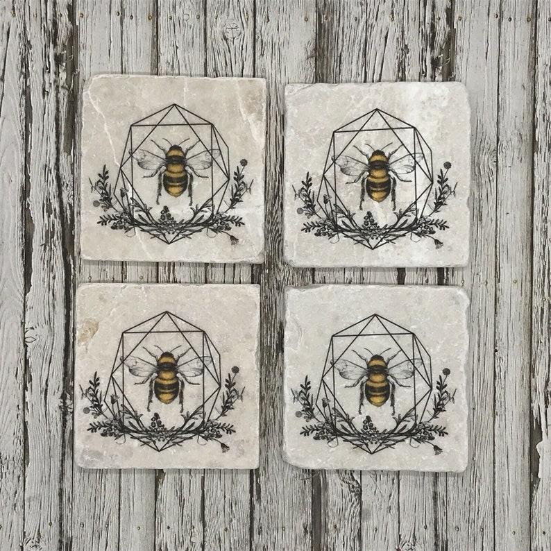 Bumble Bee Natural Stone Coasters
