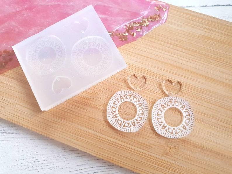 Heart Mandala drop earrings Jewellery mold