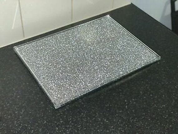 Large Silver Diamond Crushed Crystal Filled Chopping Serving Board Kitchen Gift