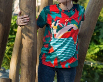 """Cute Woman Designer T-Shirt """"Tropical story"""", Woman Tshirt Love Theme, Woman Tee Shirt Graphic Top, Paradise All Over full print Two sided"""