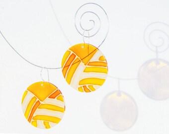 Sunny Glass Earrings Art Nouveau style, Handmade Transparent Earrings, Yellow Flat Circle Design Earrings, Modern Wearable Art Earrings