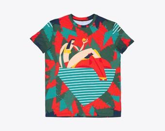 "Cute Designer Man T-Shirt ""Tropical story"", Man Graphic Tee Shirt, Original Unisex Tshirt, All Over full print Two sided illustration"