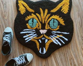 Handtufted Retro Halloween Black Cat Accent Rug OR Wall Hanging