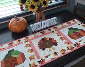 Quilted TURKEY Table Runner Fall Table Topper Autumn Table Runner Pumpkins Harvest Table Thanksgiving Table Decor Autumn Leaves
