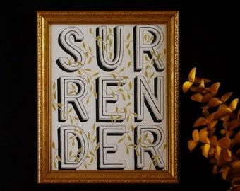 Surrender Art Print, Affirmation Art Print, Motivational Wall Art, Lettering Art Print, Inspirational Wall Art, Minimalist Wall Art