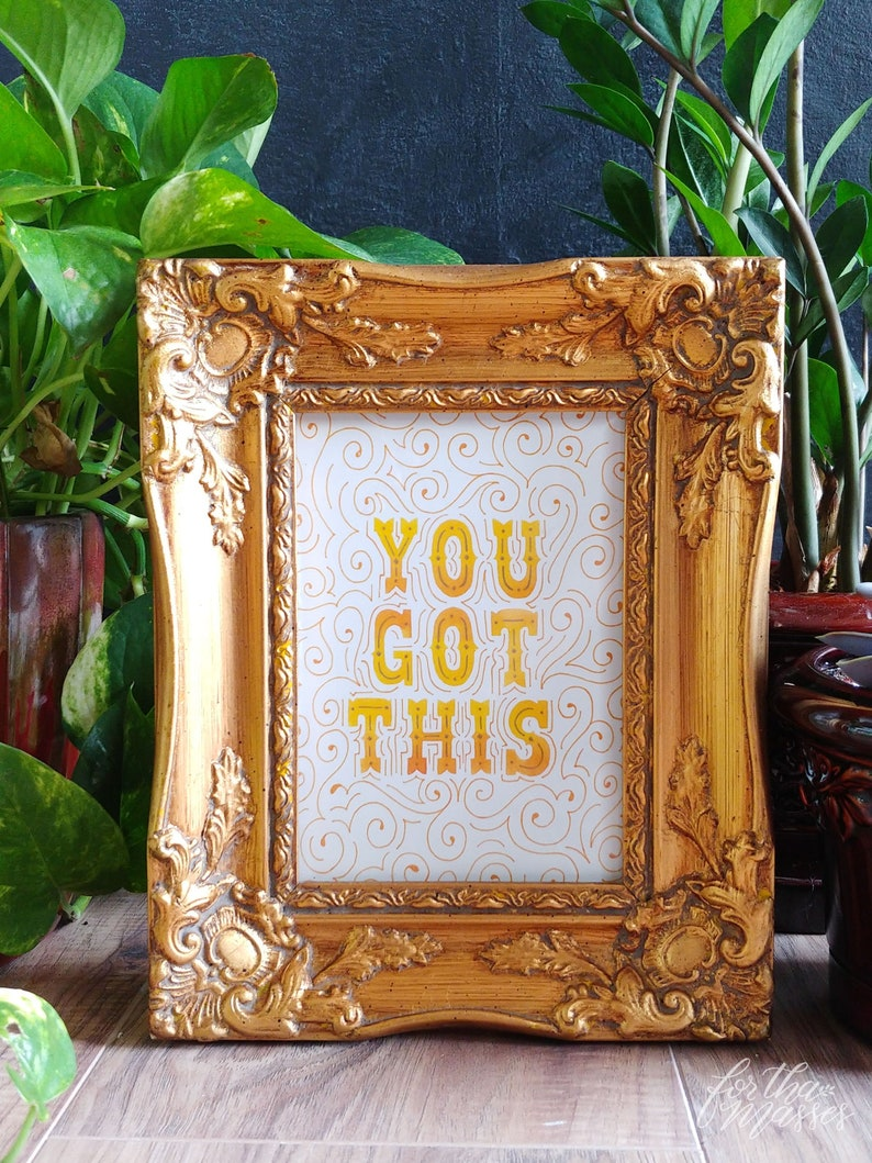 You Got This  Orange & Yellow  Watercolor Art Inspirational image 0