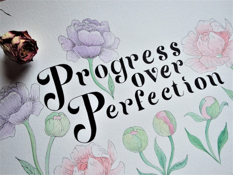 Progress over Perfection  Motivational Hand-lettered Art  image 0
