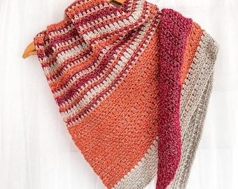 CROCHET SHAWL PATTERN, Triangle Shawl, Easy Crochet Shawl, Simple Shawl, Women's Shawl, Autumn Crochet Shawl, Fall Shawl, Asymmetrical