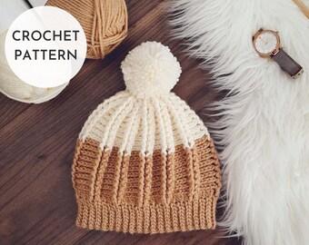 CROCHET HAT PATTERN, Crochet Beanie Pattern, Crochet Toque, for Women, for Kids, for Child, for Toddlers, Easy, Quick, Ribbed