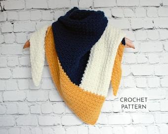 CROCHET PATTERN, Triangle Scarf Pattern, Crochet Scarf Pattern, Crochet, Color Block Scarf, Crochet Triangle Scarf, Color Block Crochet