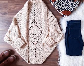 CROCHET SHRUG pattern, Crochet Cardigan, For Women, Chunky, Bulky Yarn, Cocoon, Rectangle, Sizes XS - 4X