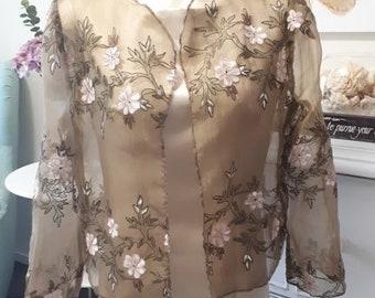 e06cb84e368 Silk Sheer Organza Cascade Jacket