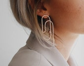 Modern and minimal gold-plated dinging earrings - handmade jewelry - dying earrings - used jewellery