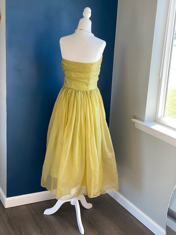 1960s Chartreuse Chiffon Party Dress - image 4