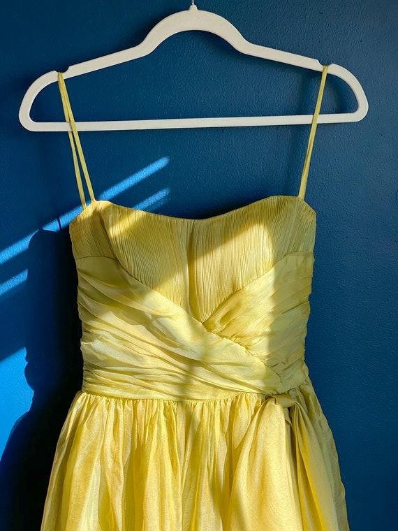 1960s Chartreuse Chiffon Party Dress - image 6