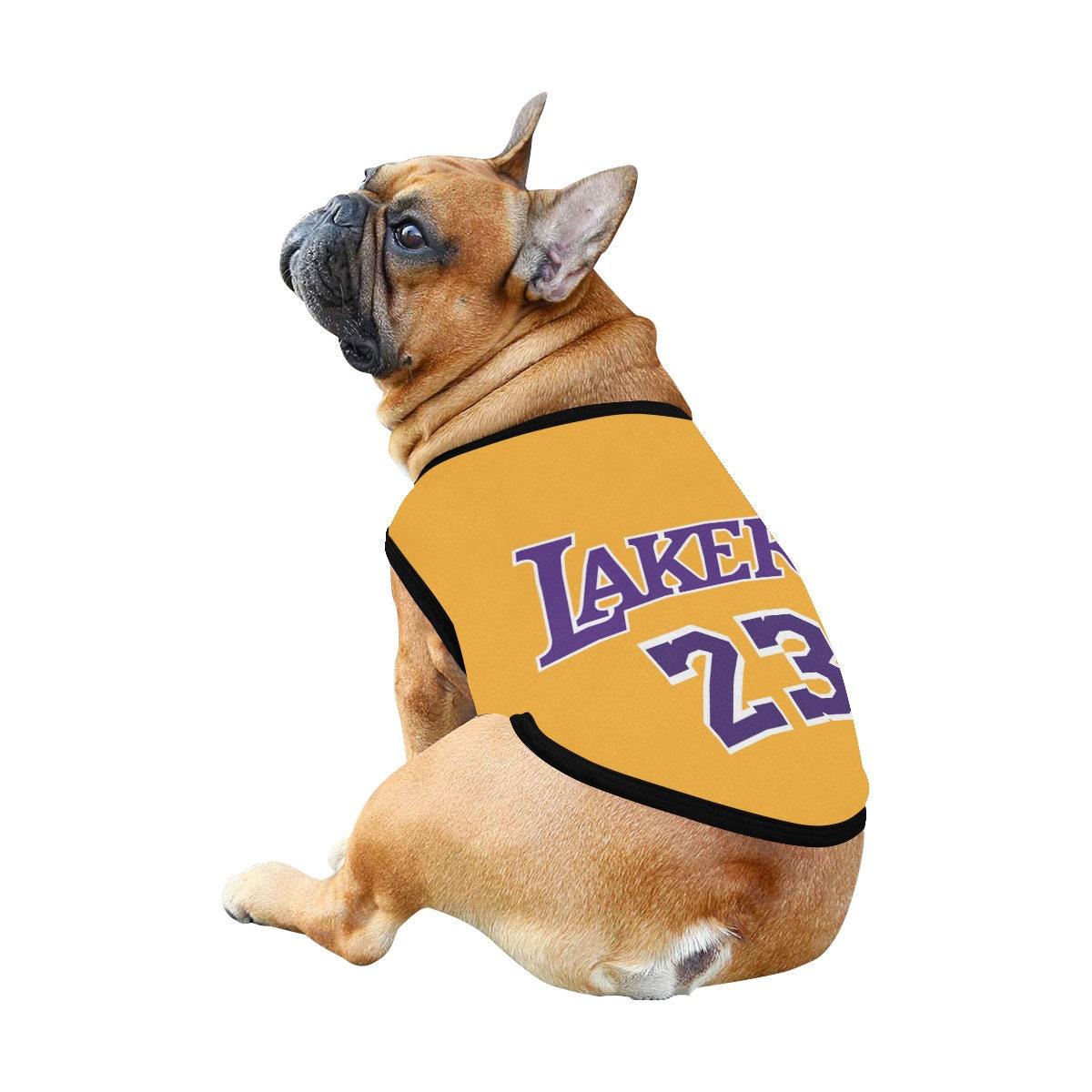 Lakers 23 Lebron James Dog t-shirt, Dog Tank Top, Dog shirt, Dog clothes, Gifts, front back print, 7 sizes XS to 3XL, dog t-shirt yellow