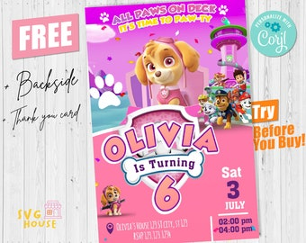 Paw  Birthday Invitation Girl + Thank You Card Instant Download Editable Template Corjl Digital or Printed