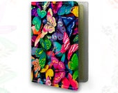 Butterflies Passport Cover Wallet for documents Leather cover Tourist passport Graduation gift Anniversary gift Colourful Case