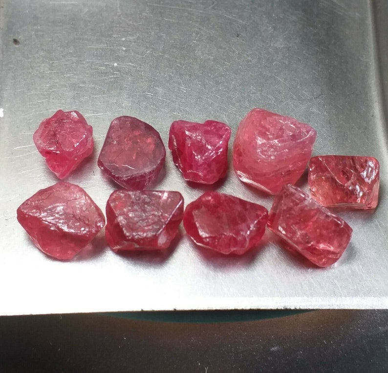 Lot of 9 Octahedral Red Pink Spinel Crystals from Vietnam Natural Gemstone Rough w Great Clarity