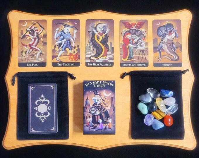 Tarot Card Deck Deviant Moon Tarot & PDF Instruction Booklet, Rider-Waite Inspired Tarot 78 Cards, Velvet Bag, Beginner Set, Crystals