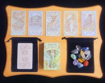 Spirit Song Tarot Deck & Instruction Booklet, Classic Rider-Waite Inspired Tarot Card Deck 78 Cards + Velvet Bag, Beginner Set, Crystals