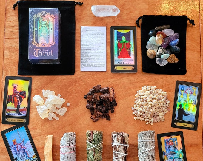 Ultimate Tarot Card Beginner Kit HOLOGRAPHIC RIDER-WAITE Tarot Card Deck & Instructions by Arthur Edward Waite 78 Cards, Sage Smudge Bundle