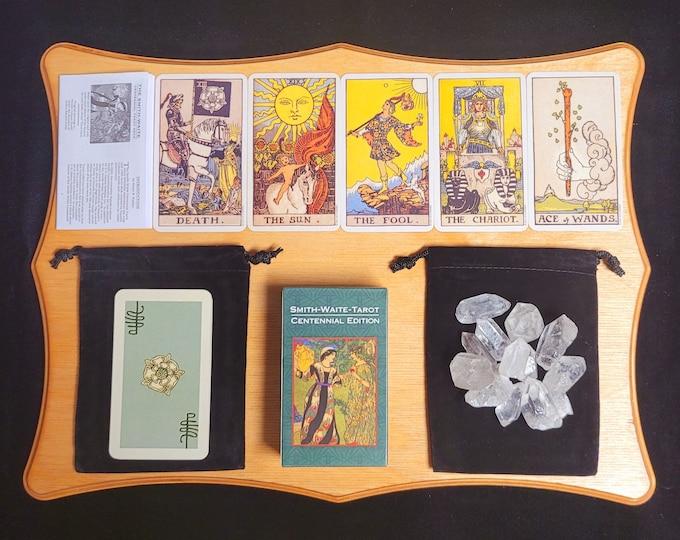 Tarot Card Deck Smith-Waite & Instruction Booklet, Classic Rider Tarot Gift Set 78 Cards, Velvet Bag, Quartz Crystals, Beginner Centennial