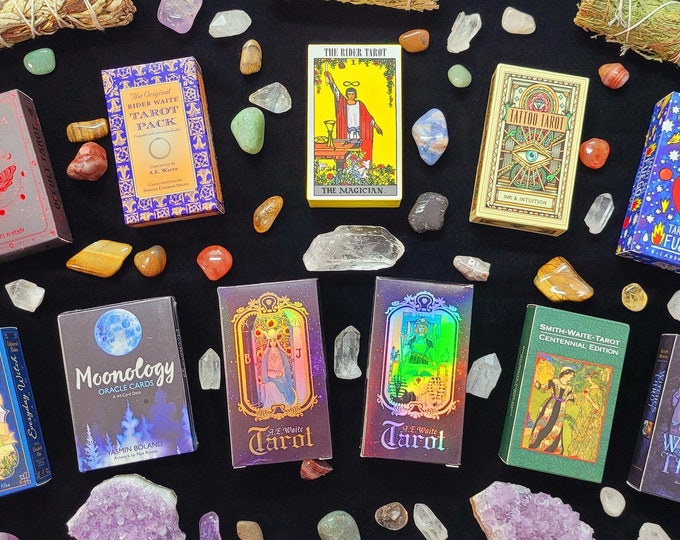 Tarot Card Deck Mystery Box, Rider Waite, Holographic, Smith Waite, Light seer, Gift Tarot, Let the Universe Decide What Deck You Receive!