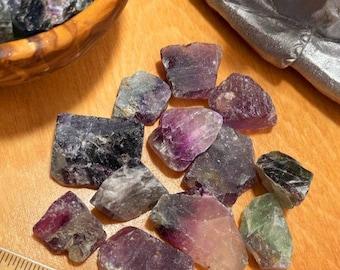 Rainbow Fluorite Rough, 4oz of Crystals W/ Black Velvet Bag, Crystal Healing, Metaphysical, Protection Stone, Gemstones, Wholesale