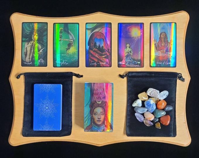 Light Holographic Tarot Deck & PDF Instruction Booklet, Classic Rider-Waite Inspired Tarot Card Deck 78 Cards + Velvet Bag, Beginner Set