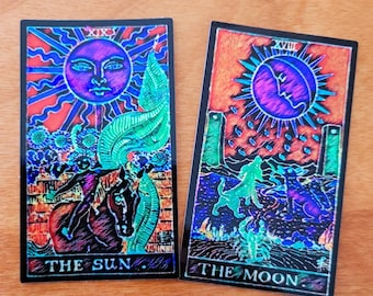 Sun and Moon Holographic Tarot Cards Vinyl Sticker, Rider Waite, 2 Pack!!