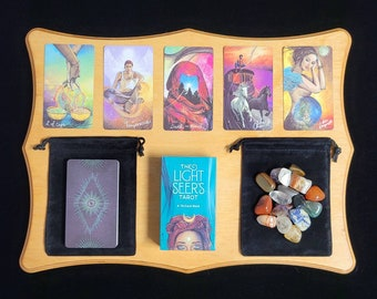 Light Seers Tarot Deck & PDF Instruction Booklet, Classic Rider-Waite Inspired Tarot Card Deck 78 Cards + Velvet Bag, Beginner Set, Crystals
