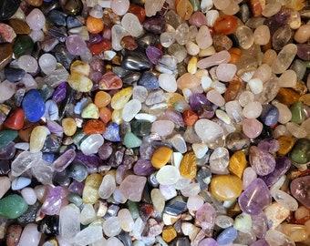 Assorted Mixed Tumbled Stones, MEDIUM Tumbled Precious Stones, 4oz, 1/4 Pound, With Black Velvet Pouch. Wholesale. Polished.