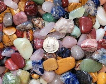 ONE POUND Assorted Mixed Tumbled Stones, MEDIUM Tumbled Precious Stones, One Pound Wholesale Polished