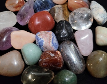 Assorted Mixed Tumbled Stones, LARGE Tumbled Precious Stones, 4oz, 1/4 Pound, With Black Velvet Pouch. Wholesale. Polished.