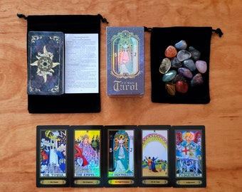 Holographic Rider-Waite Tarot Card Deck & Instruction Booklet by Arthur Edward Waite, 78 Cards, Black Velvet Bag, Quartz Crystal, Beginner