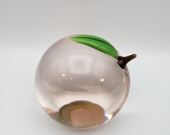 Vintage Orient and Flume Chico CA Hand Blown Iridescent White Large Art Glass Apple Paperweight Sculpture Signed MINT