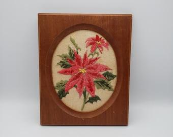 Vintage crewel embroidery poinsettia framed