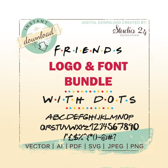 Friends Font, Friends TV Show Alphabet Font, Friends svg, Silhouette, TTF,  ai file, Cut File Clipart, SVG Design Logo Cricut File Typeface