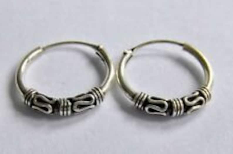 10 MM, 12 MM, 14 MM Sterling Silver 925  Bali  Hoop  Earrings