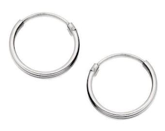 Pair  Of  2  x  Sterling  Silver  925  Hoop  Sleeper  Earrings      ( 1.2 x 8,10,12,14,16,18,20,25 ,30,40,50 MM )