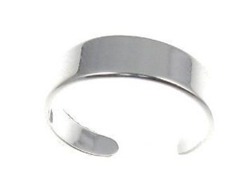Sterling Silver 925  Solid  5 MM Band Adjustable Toe Ring