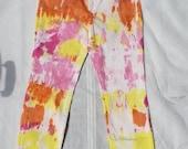 Summer Time Color Burst Tie-Dye Pink, Yellow, Orange Super Soft White Jeans (Size 8)