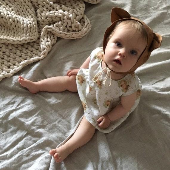 Terracotta linen fox baby bonnet 1st birthday gift ideas