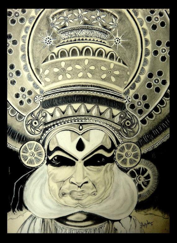 Digital Pencil Sketch Kathakali Dancer Etsy